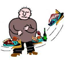 Карикатурное изображение человека с продуктами питания. Цветной рисунок. Карикатура. Графика. Картинки. Текст.  Caricature. Graphic art. Drawing. Pictures. Text.
