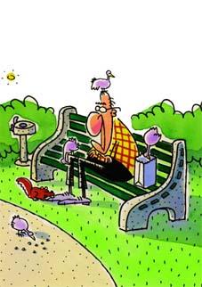 Карикатурное изображение человека на скамейке. Цветной рисунок. Карикатура. Графика. Рисунок. Картинки. Текст.  Caricature. Graphic art. Drawing. Pictures. Text.