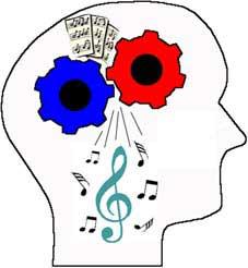 Головной мозг обрабатывает музыку так же как и слова. Карикатура. Графика. Цветной рисунок. Картинки. Изображения. Текст.  Music. Caricature. Graphic art. Drawing. Pictures. Text.